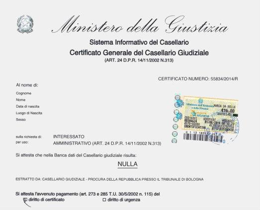 Ministero della giustizia - Certificato casellario giudiziale